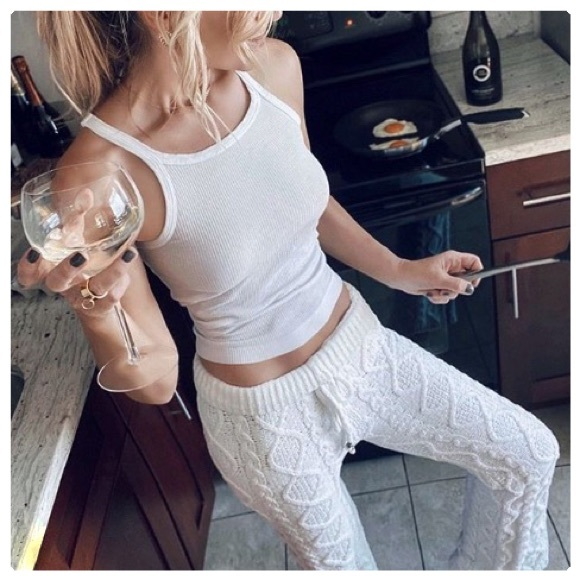 POL Pants - Luxury Chenille Cable Knit Lounge Pants
